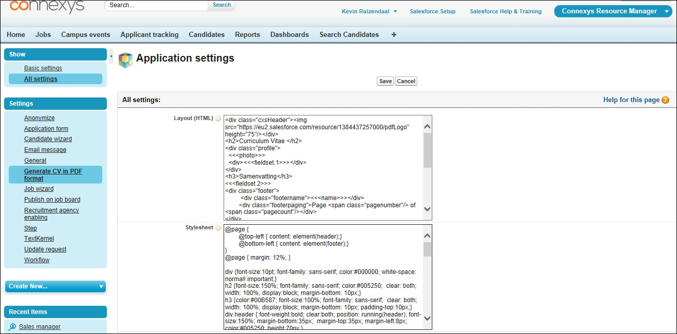 application settings connexys help the